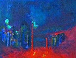 Art: City Abstract Red by Artist Claire Bull