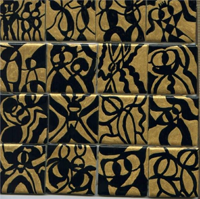 Art: Gold & Black Abstract People by Artist Dorothy Edwards