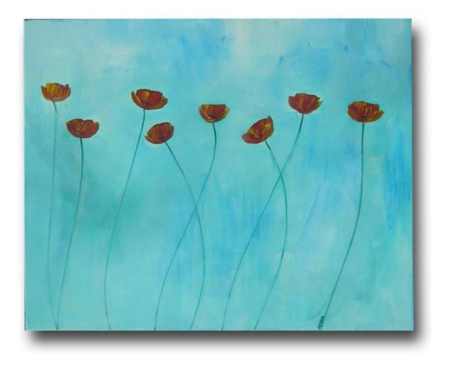 Art: Sky Blue with Poppies by Artist Eridanus Sellen