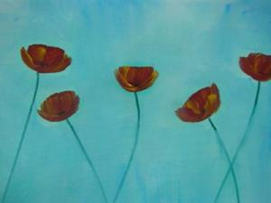 Detail Image for art Sky Blue with Poppies