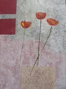 Detail Image for art Handmade Paper and Poppies