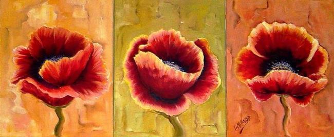 Art: Three Red Poppies - SOLD by Artist Diane Millsap