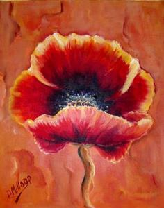 Detail Image for art Three Red Poppies - SOLD