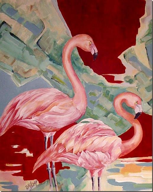 Art: Pink Flamingos by Artist Diane Millsap