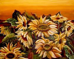 Art: Midnight Sunflowers - SOLD by Artist Diane Millsap
