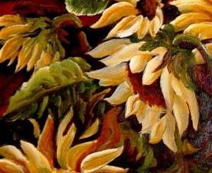 Detail Image for art Midnight Sunflowers - SOLD