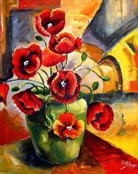 Art: Greem Vase with Poppies - SOLD by Artist Diane Millsap