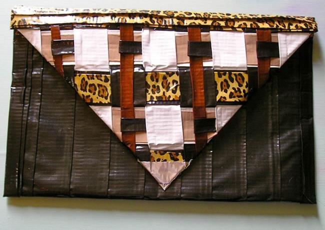 Art: Leopard Square Duct Tape purse by Artist Alma Lee