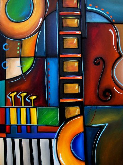 Art: Cubist 122 3040 W Original Cubist Art Cello Again by Artist Thomas C. Fedro