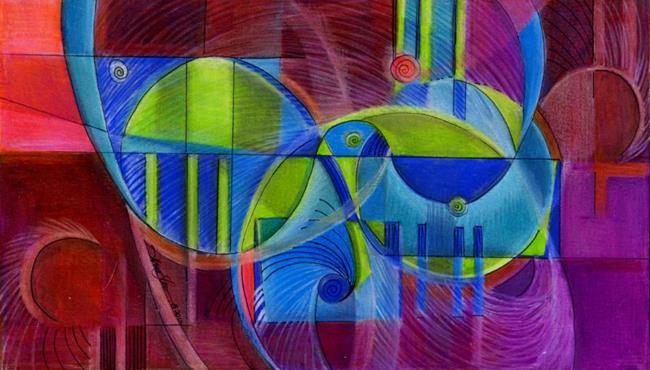 Art: Convergence of Koi by Artist Alma Lee