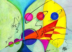 Art: Marriage Abstract by Artist Alma Lee