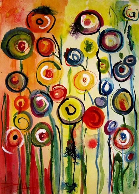 Art: Abstract Hollyhocks by Artist Delilah Smith
