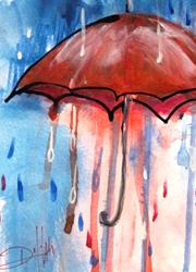 Art: Red Umbrella by Artist Delilah Smith