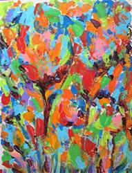 Art: Impasto Abstract Flowers by Artist Ulrike 'Ricky' Martin