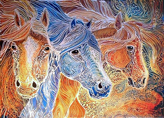 Art: EQUUS TRIO BATIK by Artist Marcia Baldwin