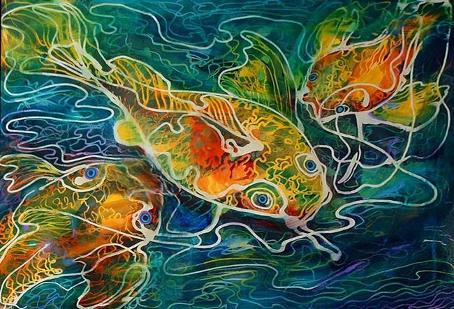 Art: BATIK KOI 01 by Artist Marcia Baldwin