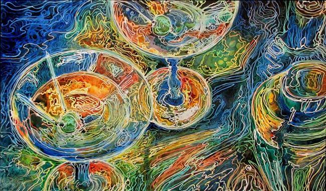 Art: MARTINI TIME ~ A FINE ART BATIK by Artist Marcia Baldwin