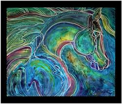 Art: EMERALD EYES EQUINE BATIK by Artist Marcia Baldwin