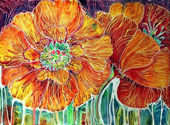 Art: POPPIES BATIK ABSTRACT by Artist Marcia Baldwin
