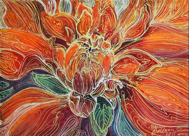 FLORAL ABSTRACT created with my Batik technique on canvas. Depicting ...