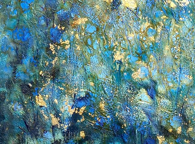 Art: Encaustic Blue Floral with Gold Leaf by Artist Ulrike 'Ricky' Martin