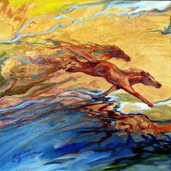 Art: ABSTRACT WILD HORSES by Artist Marcia Baldwin