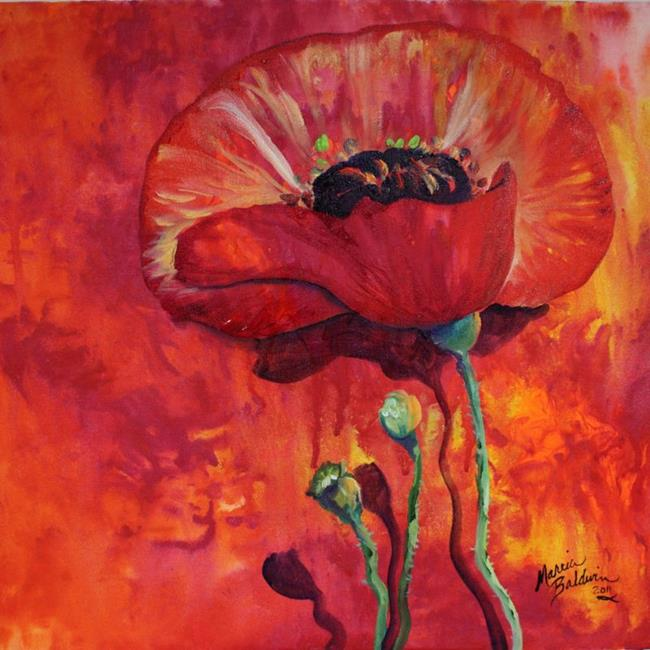 Art: POPPY on RED ABSTRACT by Artist Marcia Baldwin