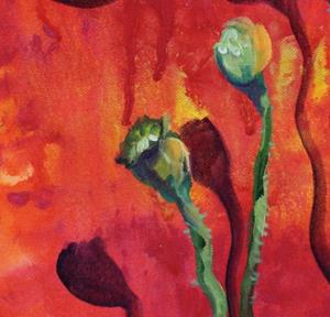 Detail Image for art POPPY on RED ABSTRACT