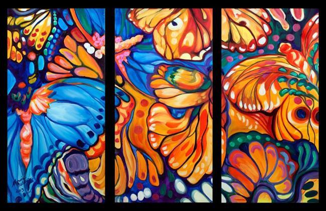 Art: ABSTRACT BUTTERFLIES TRIPTYCH by Artist Marcia Baldwin