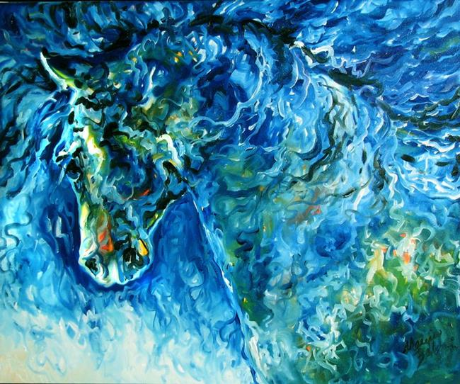 Abstract horse in blue by marcia baldwin from abstracts for Blue paintings on canvas