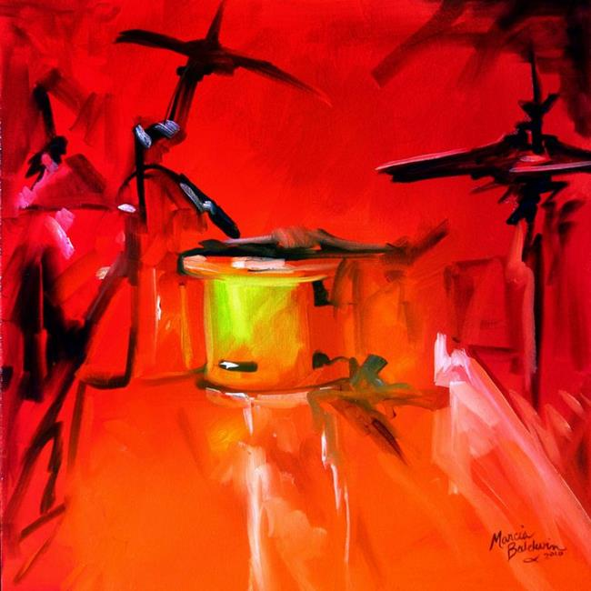 Art: MUSIC in RED ~ Drum Abstract by Artist Marcia Baldwin