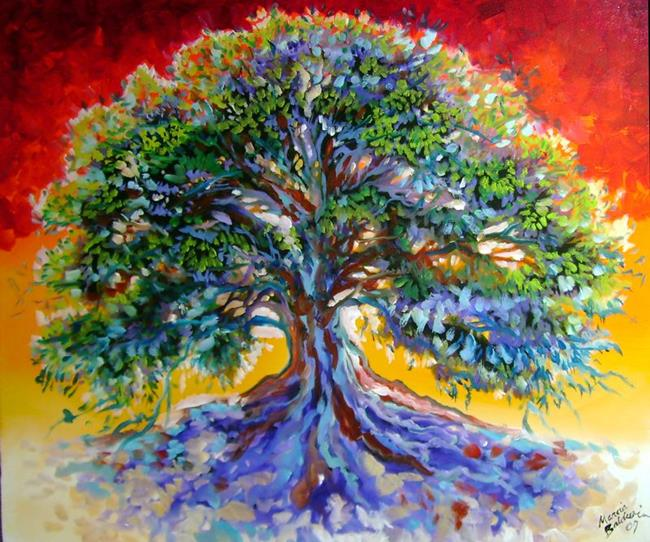 Art: Red Sky Tree ~ Tree of Life Series by Artist Marcia Baldwin