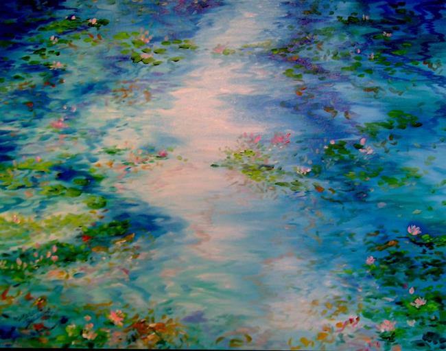 Art: BLUE WATERS LILY POND NO.4 by Artist Marcia Baldwin