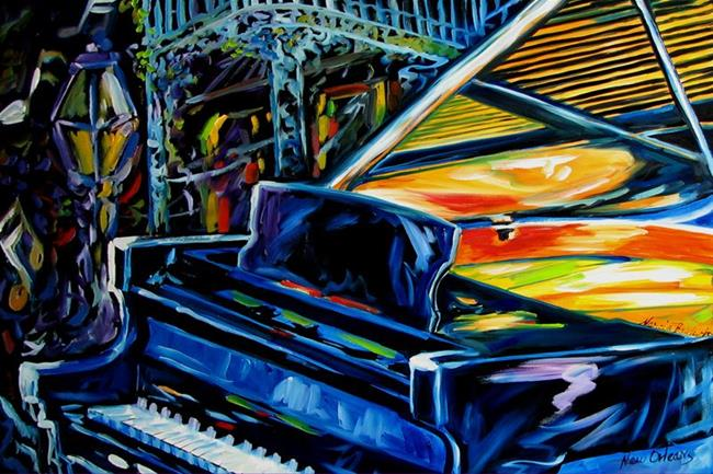 Art: JAZZ PIANO NEW ORLEANS MUSIC by Artist Marcia Baldwin