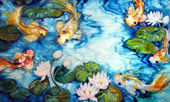 Six koi pond by marcia baldwin from abstracts for Koi fish pond art
