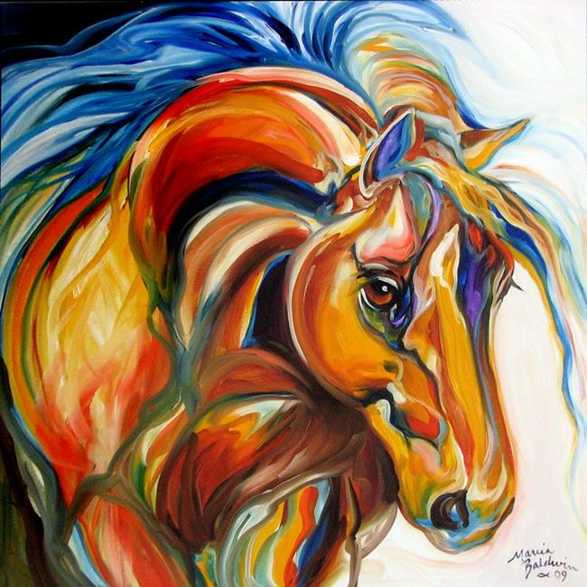 Art: ABSTRACT BAY STALLION by M BALDWIN by Artist Marcia Baldwin