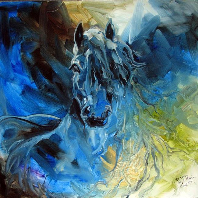 Art: BLUE GHOST FREISIAN EQUINE by Artist Marcia Baldwin