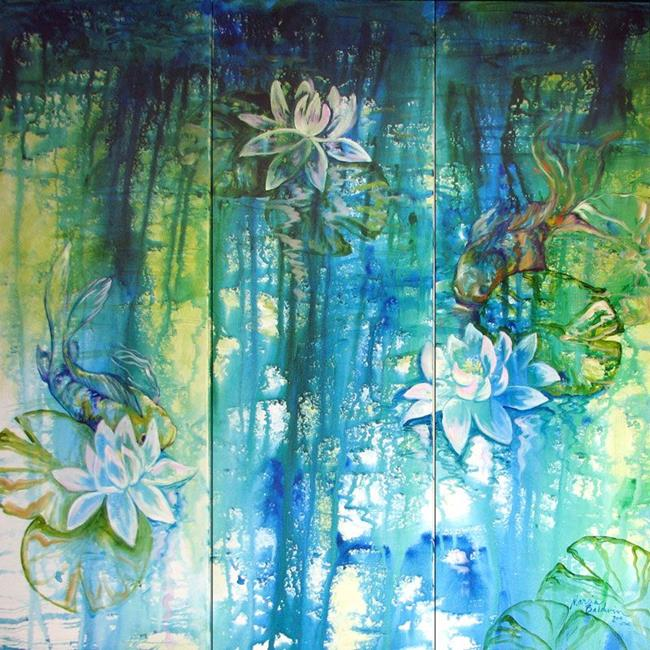 Lily pond koi abstract blue art by marcia baldwin from for Koi fish pond art