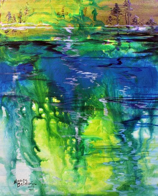 Art: LAKE ABSTRACT LANDSCAPE by Artist Marcia Baldwin