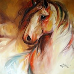 Art: GOLDEN SAND EQUINE ABSTRACT by Artist Marcia Baldwin