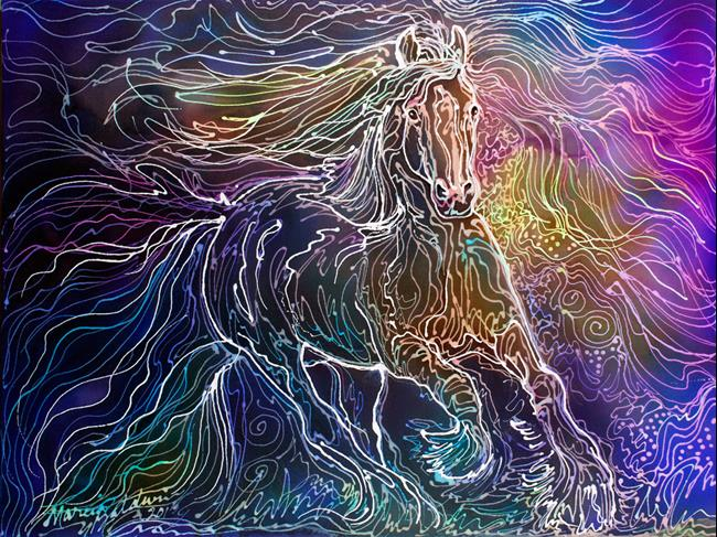 GYPSY VANNER BATIK WATERCOLOR - by Marcia Baldwin from Abstracts