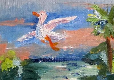 Tropical Bird Painting on Delilah Tropical Bird Aceo Original Oil Painting Miniature Art