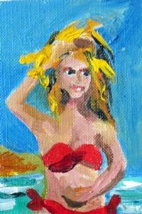 Detail Image for art Red Swim Suit Aceo