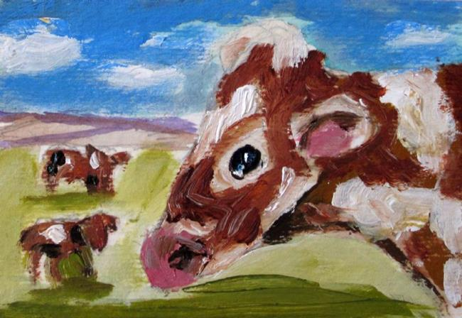 Art: Cows in the Fiels Aceo by Artist Delilah Smith