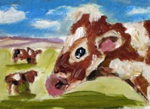Detail Image for art Cows in the Fiels Aceo