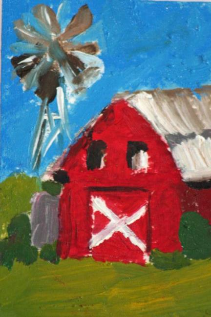 Art: Barn and WIndmill-sold by Artist Delilah Smith