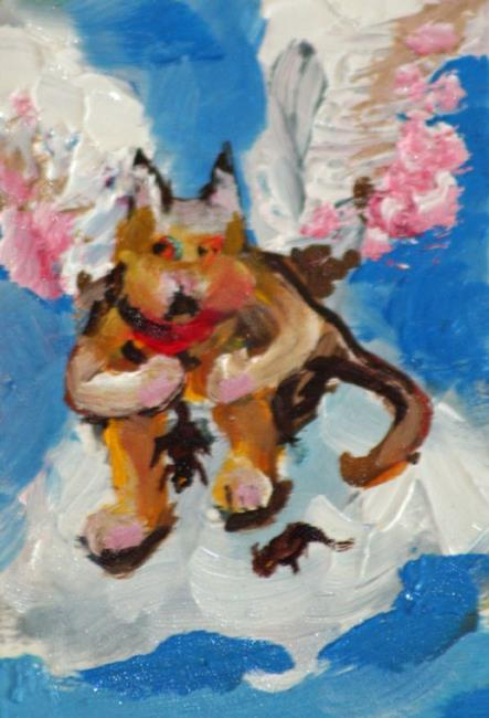 Art: Angle Cat Aceo by Artist Delilah Smith