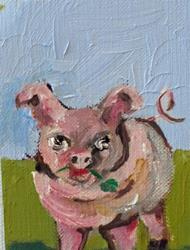 Art: Irish Pig Aceo by Artist Delilah Smith