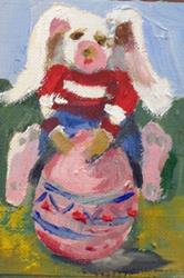 Art: Easter Rabbit and Egg Aceo by Artist Delilah Smith