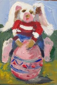 Detail Image for art Easter Rabbit and Egg Aceo